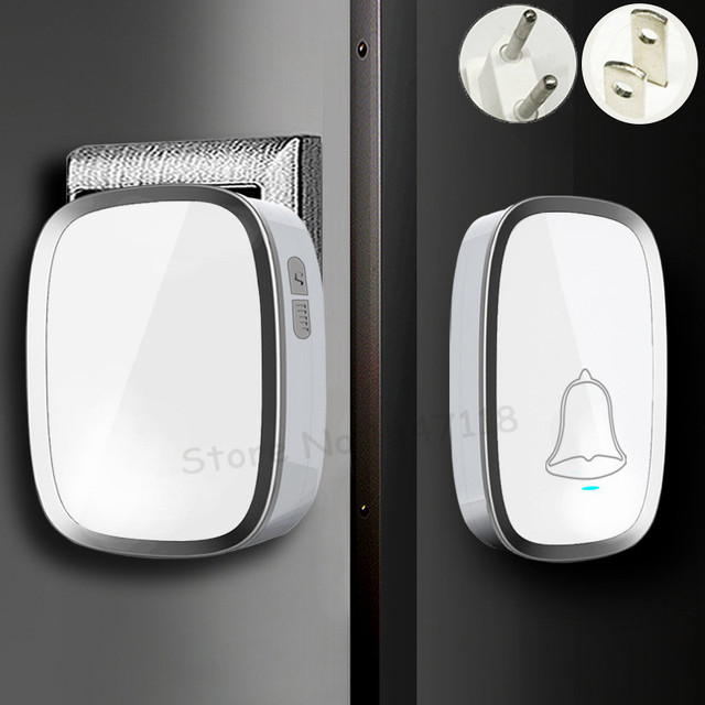 New White EU/US Plug Wireless Doorbell Waterproof Smart 36 Melody Led Ring Door Bell AC220V 1 Push Doorbells Button +2 Receivers
