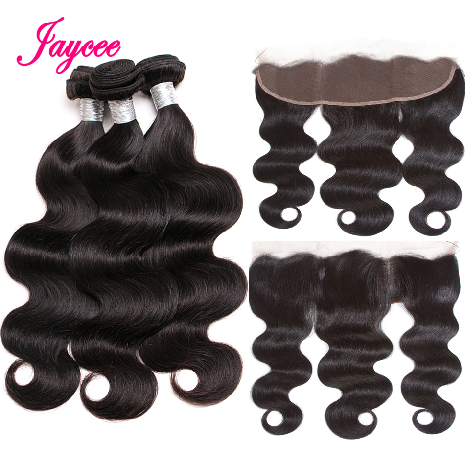 Body Wave Hair Bundles With Frontal Peruvian Hair Weave Bundles With Frontal 13*4 Ear To Ear Closure With Human Hair Bundles