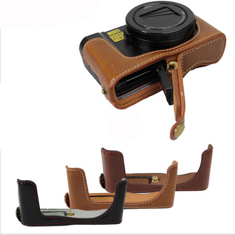PU Leather Camera Bottom Grip <font><b>Case</b></font> Half Opening Cover 1/4
