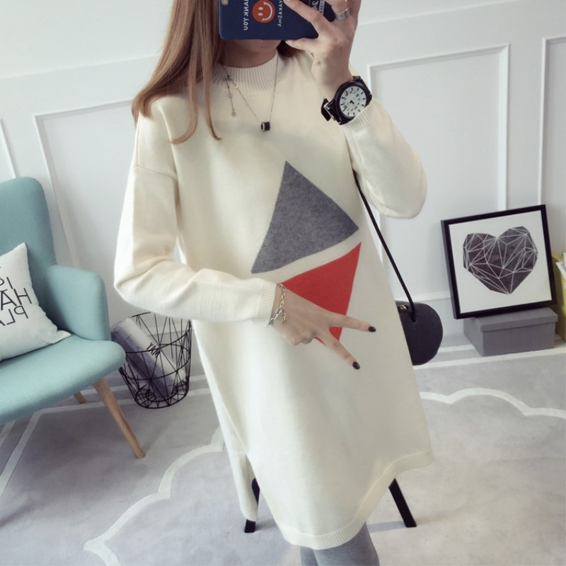 2017 autumn and winter new pregnant women hit the triangle hit color knit sweater loose large size was thin sweater transcend jetdrive lite 330 storage expansion memory sd card for macbook pro retina 13 64gb