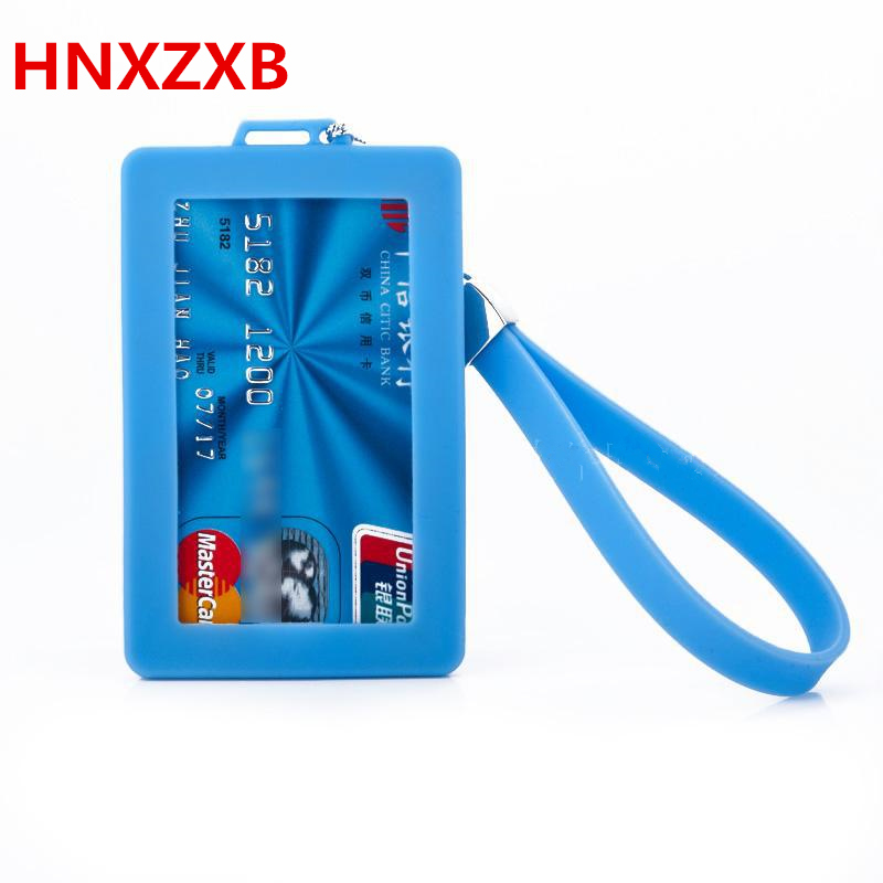 HNXZXB Silicone Cartoon Cute ID Credit Card Holder Bus Card Student ID Badge ID Name Business Credit Cards Cover id credit card hot portable silicone bus card case holder cute cartoon kitty cat care student id identity badge credit cards cover with lanyard