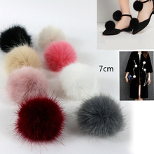 100pcs/lot DIY 7cm Faux Fox Mink Fur Pom Pom Ball for Women Earrings Shoes Handbag Key chain 8 Colors Accessories Wholesale