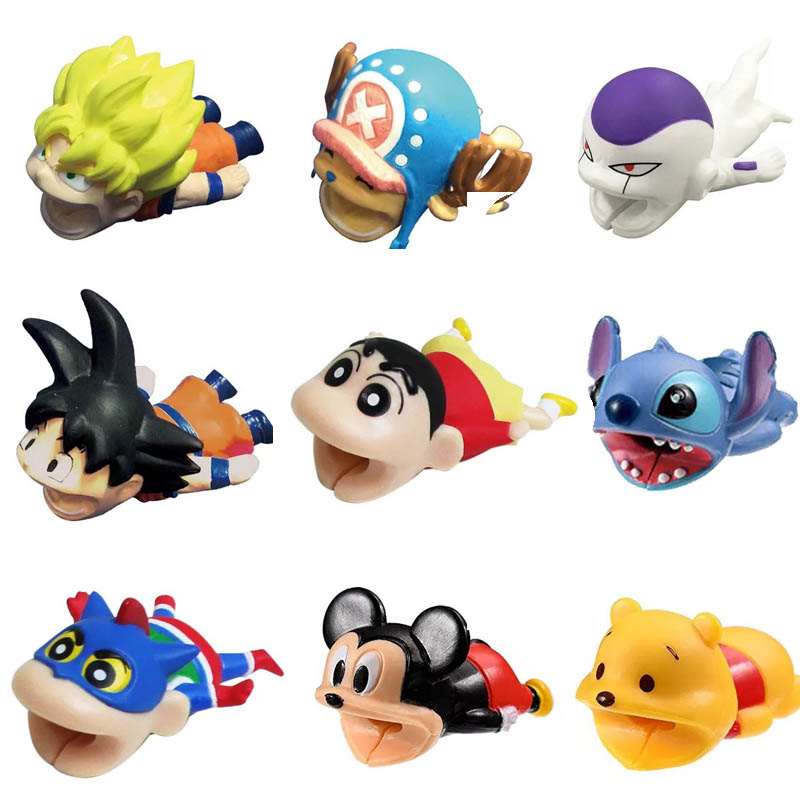 Cable Animal Cable Protector Buddies Bite Cartoon Stitch One Piece Monkey D.Luffy Chopper Dragon Ball Son Goku Frieza Cable Toys