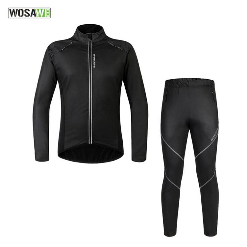 WOSAWE Cycling Set Bicycle Jacket Pants Men Waterproof Bicycle Clothing Long Jersey Reflective Bike Set Outdoor Sportswear K2432 aluminum alloy magic folding table blue black bronze color poker table magician s best table stage magic illusions accessory