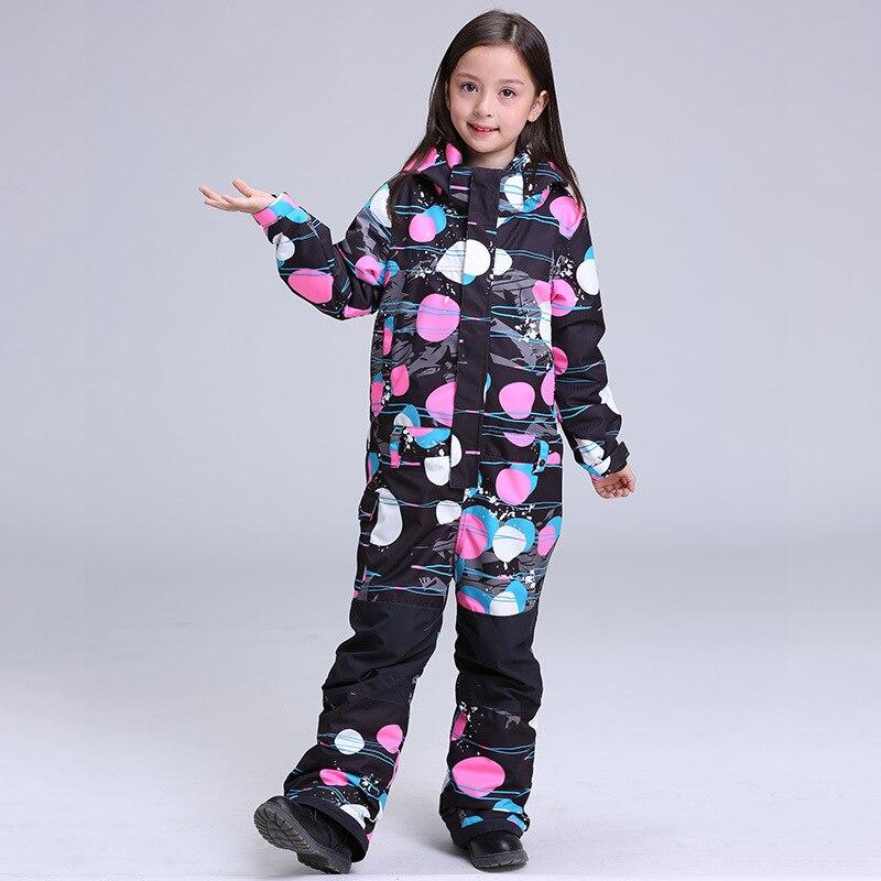 Offen Gsou Schnee Winter Kinder Ski Tragen Mädchen Verdickung Wärme Wasserdicht Atmungsaktiv Verbunden Ski Hosen Anzug Größe Xs-l Skijacke