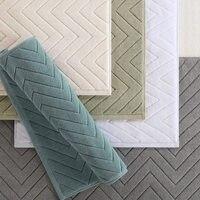 White Hotel Plaid Cotton Striped Floor Towels Bathroom Mat Carpet Absorbent Non slip Carpets Step Foot Pad Toilet Rugs Machine