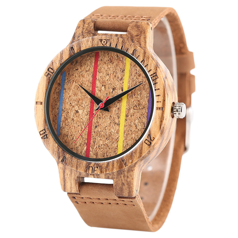 Colorful Line Face Dial Men Wood Watches Quartz Creative Genuine Leather Band Wooden Wristwatch Women 2017 New Casual Clock Gift