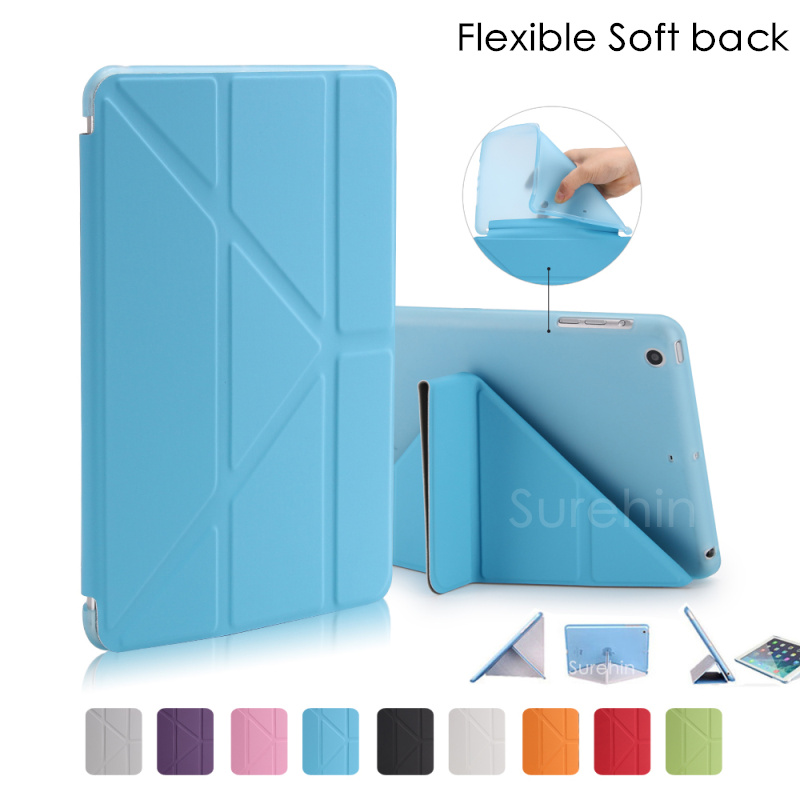 Nice flexible soft TPU silicone back leather smart case for apple ipad mini 4 cover case stand flip slim thin like 360 rotate floveme 7 9 mini4 transparant slim thin cover for apple ipad mini 4 case soft silicone gel crystal clear back funda cases