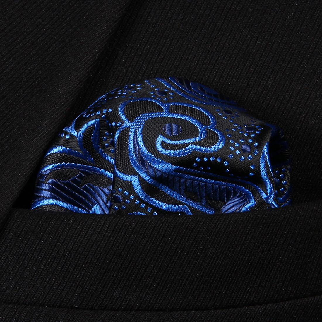 HP819B Blue Black Paisley Men 100% Silk Party Handkerchief Pocket Square Hanky