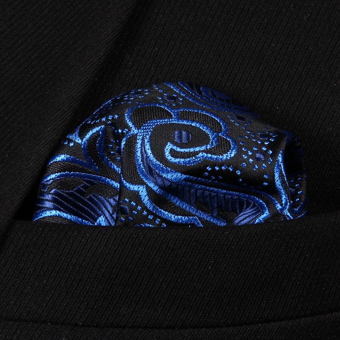 HP819B Blue Black Paisley Men 100% Silk Party Handkerchief Pocket Square Hanky