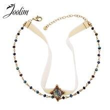 JOOLIM Jewelry Wholesale/2017 Trendy America Style Suede Choker Necklace Crystal  Fashion