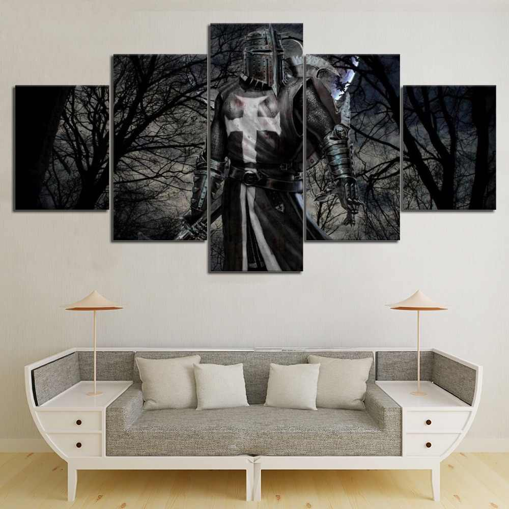 5 Panel HD Print Black forest Sea Knight Templar Modern Decorative Paintings on Canvas Wall Art for Home Decorations Wall Decor