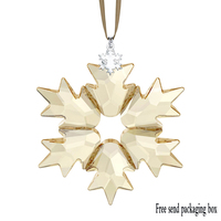 SWA RO New Christmas Ornament 2018 Charm Exquisite And Delicate Snowflake Gold Crystal Jewelry Home Decor Pendant 5376665