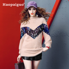Autumn Winter Casual Womens Sweater Turtleneck Sequins Slim Knittwear Women Cute Sweaters Pullovers Thick Warm Ladies Pullover