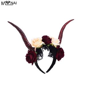 Image 2 - Steampunk Demon zło koronki antylopy róża z pałąkiem na głowę Cosplay kostiumy Halloween Party róg pasmo włosów Prop Gothic fantazyjne sukienka Punk