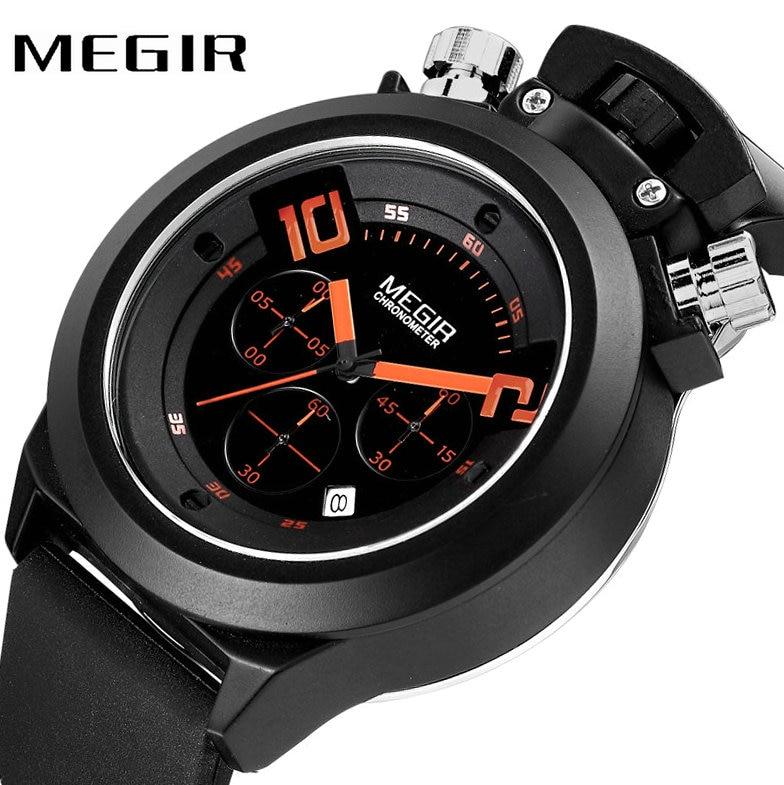 MEGIR Top Brand Luxury Watch Men Quartz Clock Cool Black 3 Time Zone Rubber Strap Orange Number Date Display Creative Watches