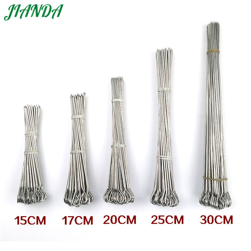 JIANDA 100pcs/lot Stainless Steel Barbecue BBQ Skewers Needle Kebab Sticks For Outdoor Camping Picnic Tools