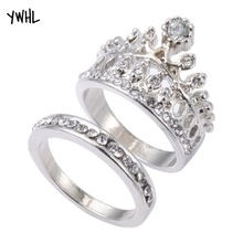 Fashion queen simple tiara modeling ring set of two wedding rings wholesale