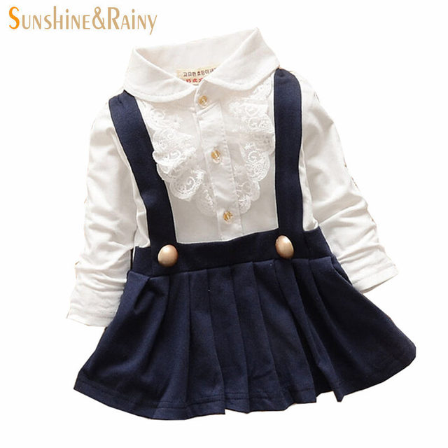 Spring & Autumn Cute Turn Down Collar Lace T Shirt Faux 2pcs Pleated Toddler Baby Dress Vestidos Infantis Newborn Girls Clothes