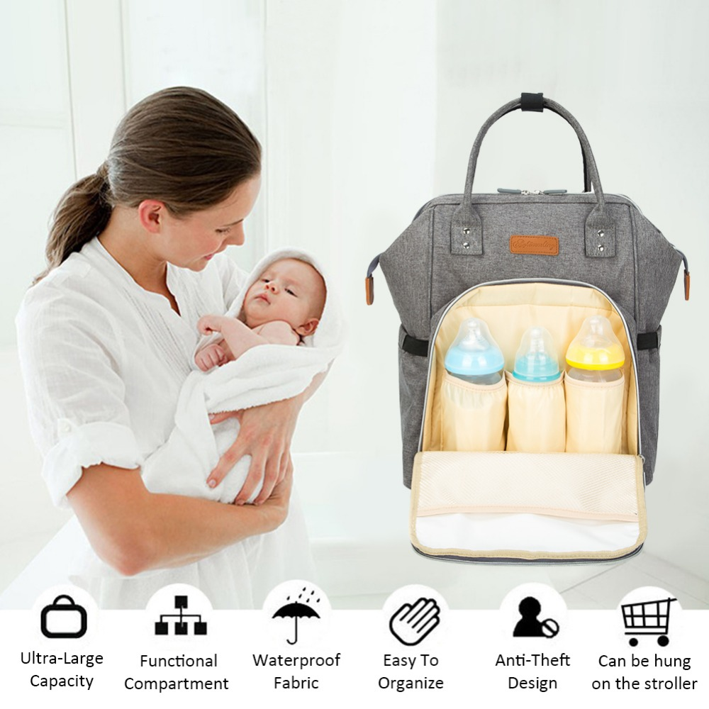 Upgraded Multifunctional Fashionable Large-Capacity Diaper Nappy Bag Backpack With Wide Open Design Changing Pad Insulated