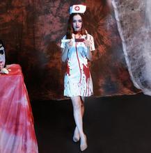 Enfermera sexy traje del fantasma para mujeres scarey cos cosplay fantasia infantil de halloween canival anastasia veilfancy elástico dress