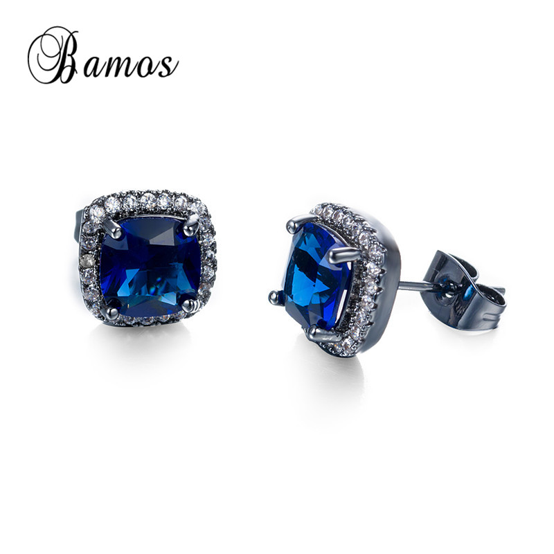 Bamos New Stylish Black Gold Filled September Birthstone Stud Earrings For Women Geometric Blue Zircon Engagement Best Jewelry In From