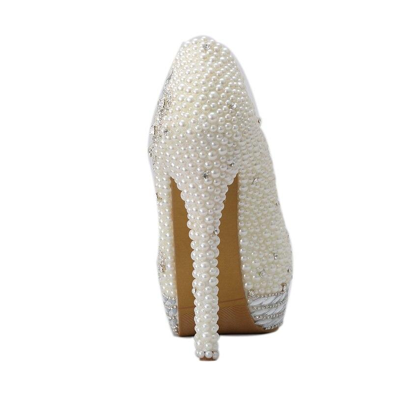 Strass Mariée 6cm Pompes Robe Chaussures Adulte Luxe Heels ivory 14cm Ivoire 11cm 8cm Ivory Bout Rond Ans De 2018 Cérémonie Perle 18 Mariage Heels xZR08p4q
