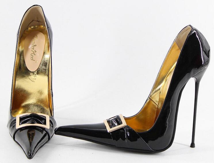 Сексуальное Металл Декор Для женщин Туфли лодочки туфли с острым носком на шпильках Обувь для торжеств на высоком каблуке E8