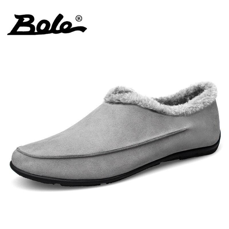 BOLE invierno nueva vaca Suede hombres zapatos causales diseño deslizamiento confort hombres holgazanes conducción zapatos calientes zapatos hombres tamaño grande 37-48