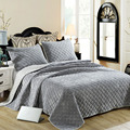 CHAUSUB Winter Cotton Bedspread Quilt Set 3PCS Embroidered Plush Quilts Quilted Bed Cover Pillowcase King Queen Size Coverlet