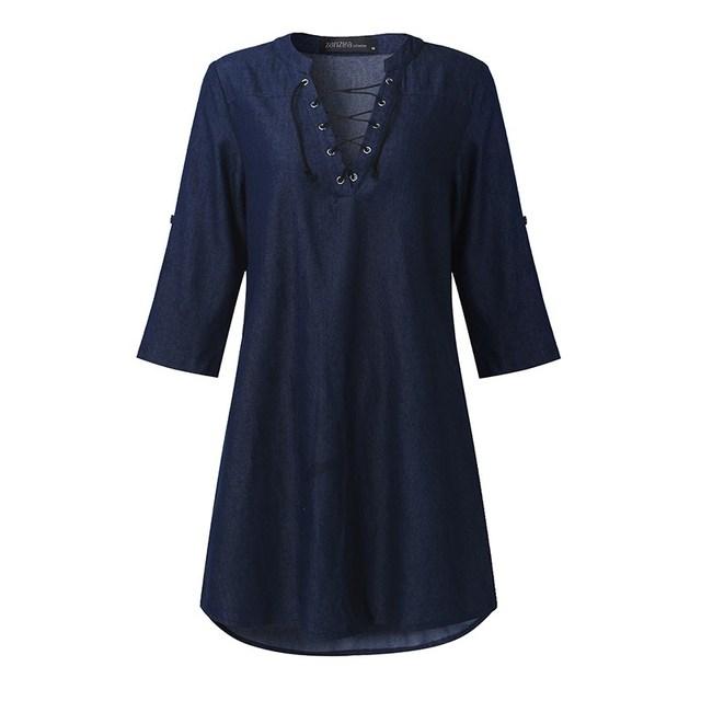 3 Colors ZANZEA 2017 Women Deep V Lace Up Denim Blue Asymmetrical Shirt Dress Short Mini Dress Party Dress Vestidos Plus Tops