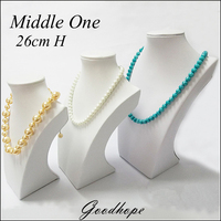 Portable 10 1/4 H White Leather Jewelry Pendant Neck Display Bust Form Leatherette Necklace Stand for Long Chain Pendant Holder