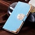 Moda carpeta del cocodrilo diamante cubierta de la caja del teléfono del cuero del tirón para el iphone 7 7 plus para iphone 6 6 s plus 5 5S se con tarjeta ranuras