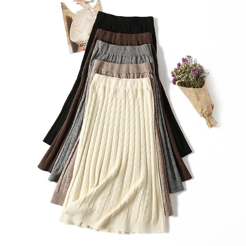 Frauen Gestrickte Rock Lange Pullover Rock Faldas Mujer Moda Koreanische Stil Verdickung Rock Rüschen Saia Plissee Röcke Weibliche Tricots Extrem Effizient In Der WäRmeerhaltung Frauen Kleidung & Zubehör Röcke
