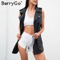 BerryGo Spring Belt Faux Leather Vest Women Black Punk Sleeveless Black Long Jacket Coat Streetwear Pocket