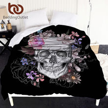 BeddingOutlet Sugar Skull Duvet Cover White and Black Floral Bed Cover 1-Piece Flowers Queen Bedclothes Gothic dekbedovertrek(China)