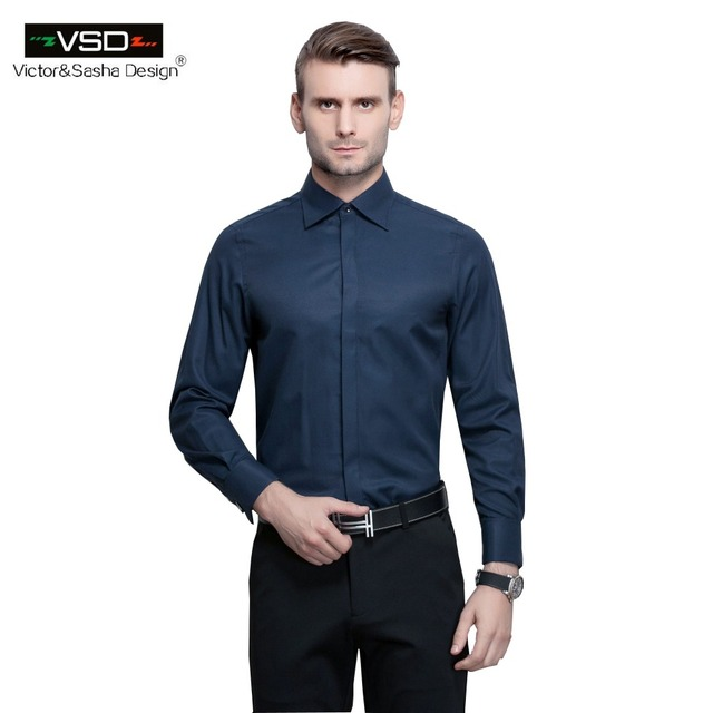 Vsd 2017 New Italian Fashion Slim Fit Soild Men S Office Shirts Long Sleeve Turn Down