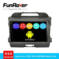 FUNROVER android 9.0 2 din car radio player for kia sportage 3 4 2010 2015 dvd gps navigation navi stereo multimedia DSP 2.5D BT