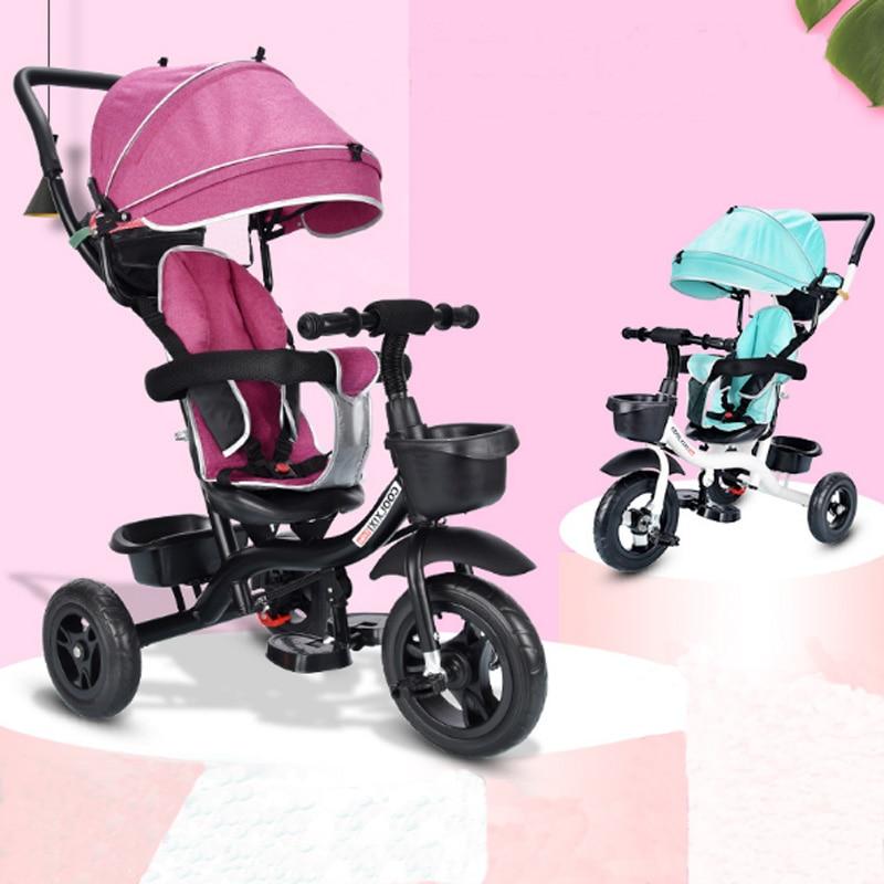 4 en 1 bébé enfants inverse enfant en bas âge Tricycle vélo Trike Ride-On jouets poussette landau bébé sièges auto poussette pour enfants sièges auto