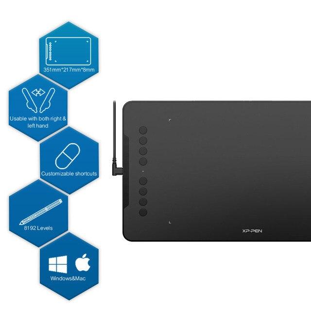 XP Pen Deco 01 tableta gráfica 8192 niveles gráficos Digital dibujo tableta pintura batería-Stylus gratis al por mayor