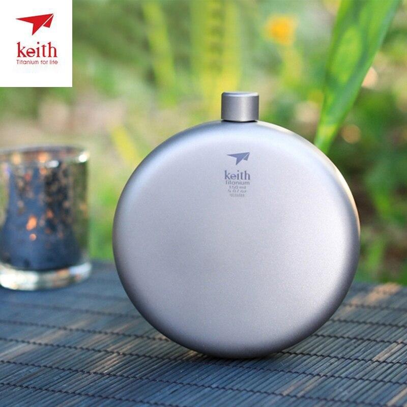 Keith Titanium Hip Flask Flagon Portable Wine Whisky Pot Sports Flagon Pure Titanium Wine Pot With