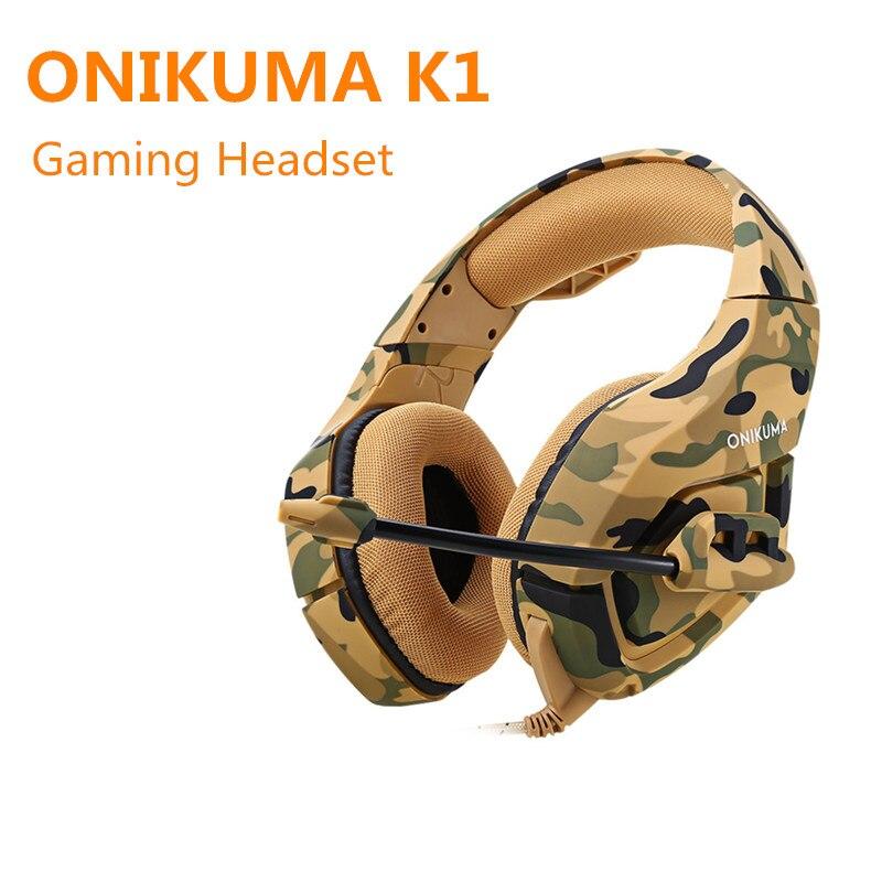 ONIKUMA K1 Stereo Gaming Headset 2.2 m Cavo Aspetto Mimetico Bass Over-ear Cuffie con Microfono per Computer Game