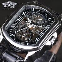 Vencedor do vintage clássico designer de prata caso aço inoxidável relógios masculinos marca superior luxo mecânico relógio automático|watch necklace|watch me|clock disc -