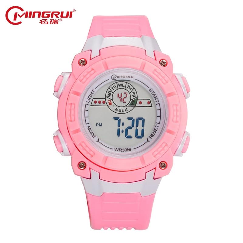 MINGRUI Watch Children Girls Boys Waterproof Silicone Sport Watches Students Kids Fashion LED Digital Watches Alarm Hour Clock