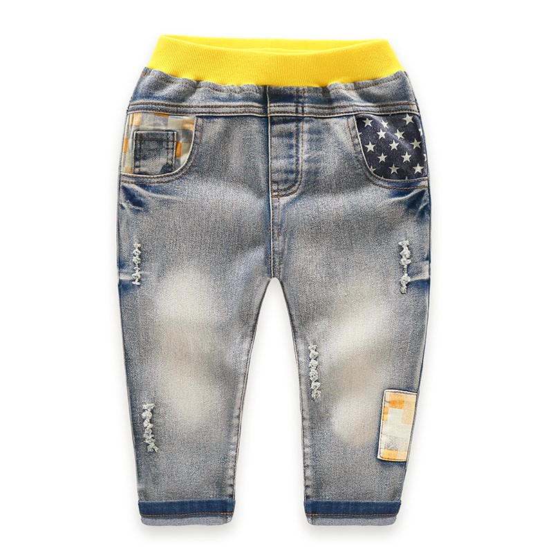 Kids Jeans Pants Children Full Length Jeans Pants Spring Autumn Star PrintedJeans with Elastic Waist For 3 to 7 years old 1