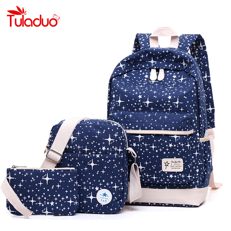 все цены на  New Fashion Women Canvas Backpack School Bags For Girl Teenagers Casual Student Travel Bag Rucksack Cute Stars Printing Children  онлайн