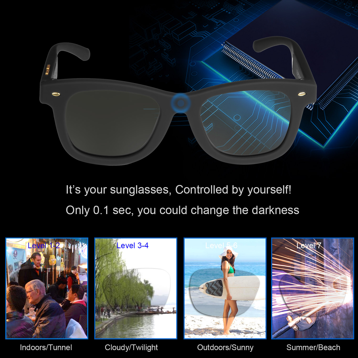 Sunglasses with Variable Electronic Tint Control Sunglasses Men Polarized Sunglasses for Women Travelling Driving Shopping Party