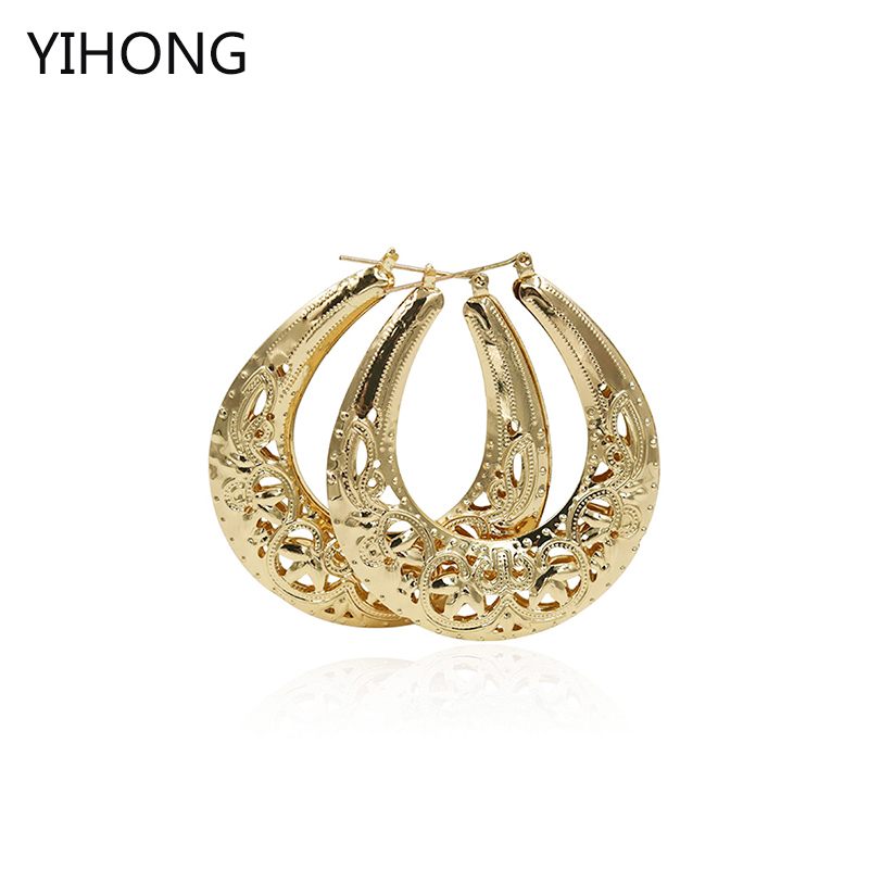 Vintage Women Earring Gold Fashion Jewelry Basketball Wives Round Hoop Earrings in Big Sale Promotion Wholesale Jewelry