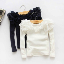 2016 New Kids Girls Puff Sleeve Shirts Spring Fall Ruffles Princess Party Tops Candy Color Long Sleeve Cotton Blouse 5PCS/LOT