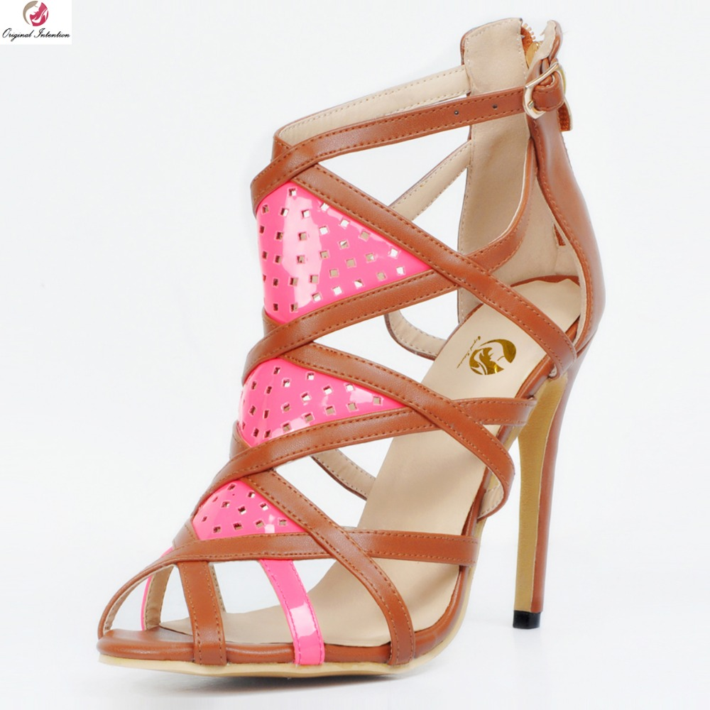 Original Intention Fashion Women Sandals Peep Toe Thin Heels Sandals High-quality Pink & Brown Shoes Woman Plus US Size 4-15 high quality originalfake kaws reas the twins mono with original box two color optional brown pink
